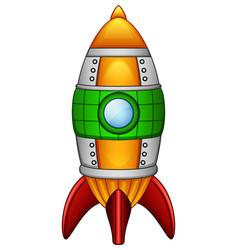 cartoon rocket spaceship isolated on white backgro vector image