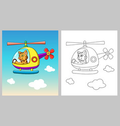 Cat riding helicopter cartoon character vector