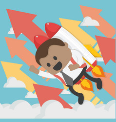 Cheerful african businessman flying off with jet vector