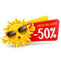 Cheerful cartoon sun character which announce vector