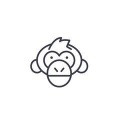 chimpanzee head line icon sign vector image