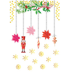 Christmas poster decorations with toys vector