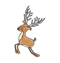 color crayon stripe cartoon of funny reindeer vector image