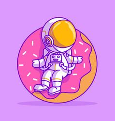 Cute astronaut sitting on doughnut icon vector