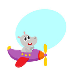 Cute funny hippo pilot character flying on vector