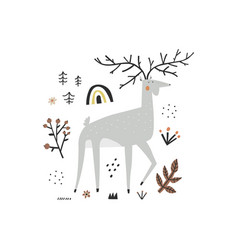 cute stag character and doodle plants elements vector image