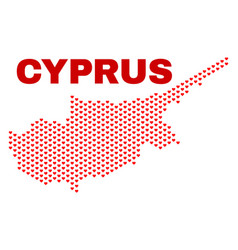 cyprus map - mosaic of heart hearts vector image