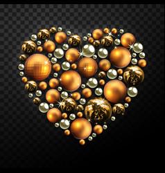 decorative christmas heart made of golden balls vector image