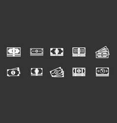 dollar icon set grey vector image