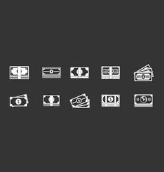 dollar icon set grey vector image