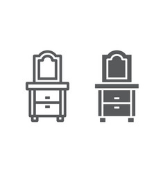 dresser line and glyph icon home and furniture vector image