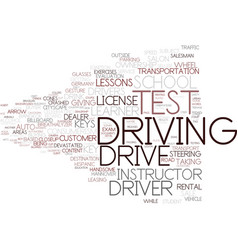 driving test word cloud concept vector image