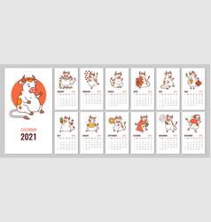 editable design 2021 calendar with cute vector image