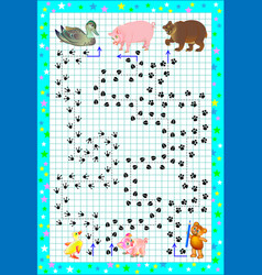 Educational page for little children on square vector