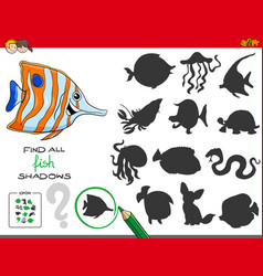 Educational shadows game with fish characters vector