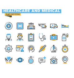 Flat line colorful icons collection of healthcare vector