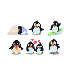 Flat set of funny penguins in different vector