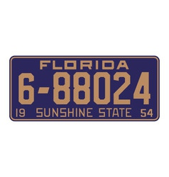 Florida1954 license plate vector