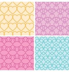 Four matching heart motives seamless patterns vector