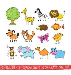Funny zoo in child hand drawing image vector