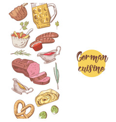 german traditional food hand drawn background vector image