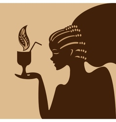 Girl and coffee vector