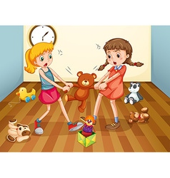 Girls fighting over teddy bear vector