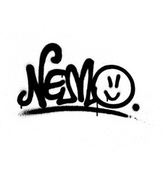 Graffiti tag nemo sprayed with leak in black vector
