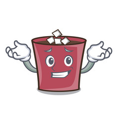 grinning hot chocolate character cartoon vector image