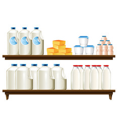 group of dairy items vector image