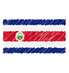 hand drawn national flag of costa rica isolated on vector image