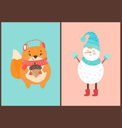 happy squirrel and snowman vector image