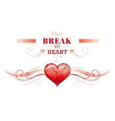 Happy Valentines day border broken heart cracks vector