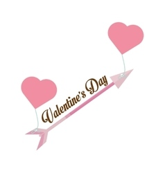 Happy valentines day card arrow hanging hearts vector