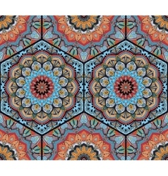Honey Comb Hex Pattern Flower Mandala Blue Orange vector image