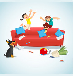 Kids jumping on the couch playing with a ball vector