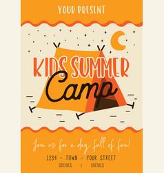 kids summer camp flyer design vector image