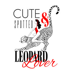 leopard lover hand drawn girl vector image