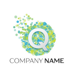 letter q logo blue green yellow particles vector image