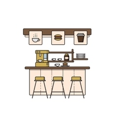 line art coffee house interior vector image