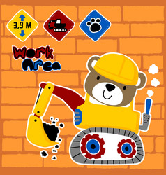 Little bear cartoon on construction vehicle vector