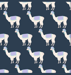 llama in hat seamless pattern vector image