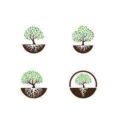 Logos green tree leaf vector