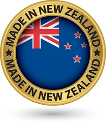 Made in New Zealand gold label with flag vector