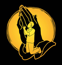 man prayer praise to the lord vector image