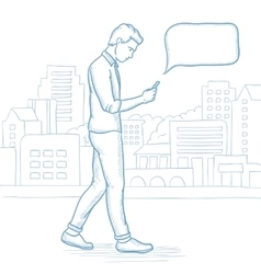 Man walking with smartphone in the city street vector