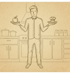 Man with apple and cake vector image vector image