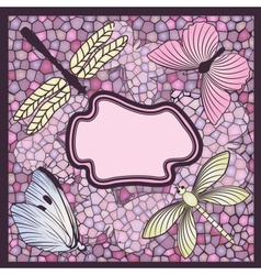 Mosaic card with butterflies and dragonflies vector