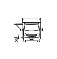 motorhome with tent hand drawn outline doodle icon vector image