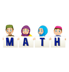 Muslim family holding sign for word math vector